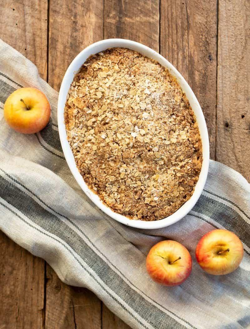 Recettes Vorwerk: crumble aux pommes.