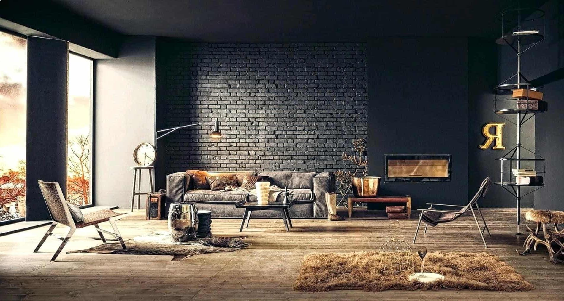 Un autre bon exemple d'un salon chaleureux en 2020 conçu avec des nuances de noir et de gris.