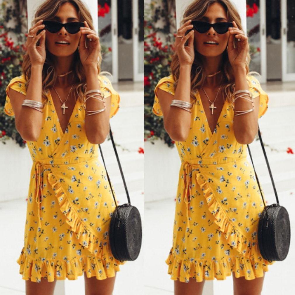 Robe jaune bohémienne.