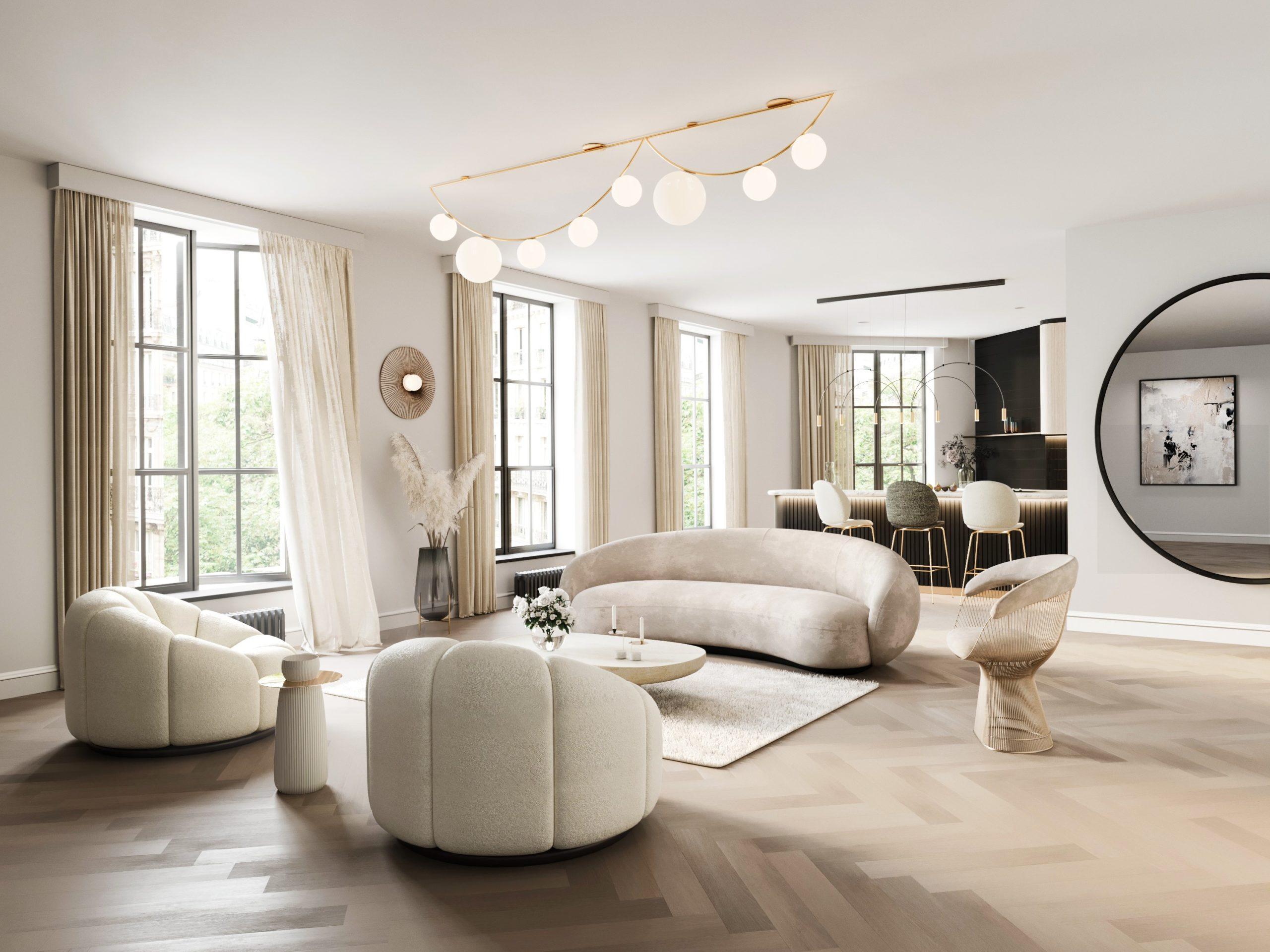 Le plancher en bois devrait compléter la conception et le mobilier de la pièce.