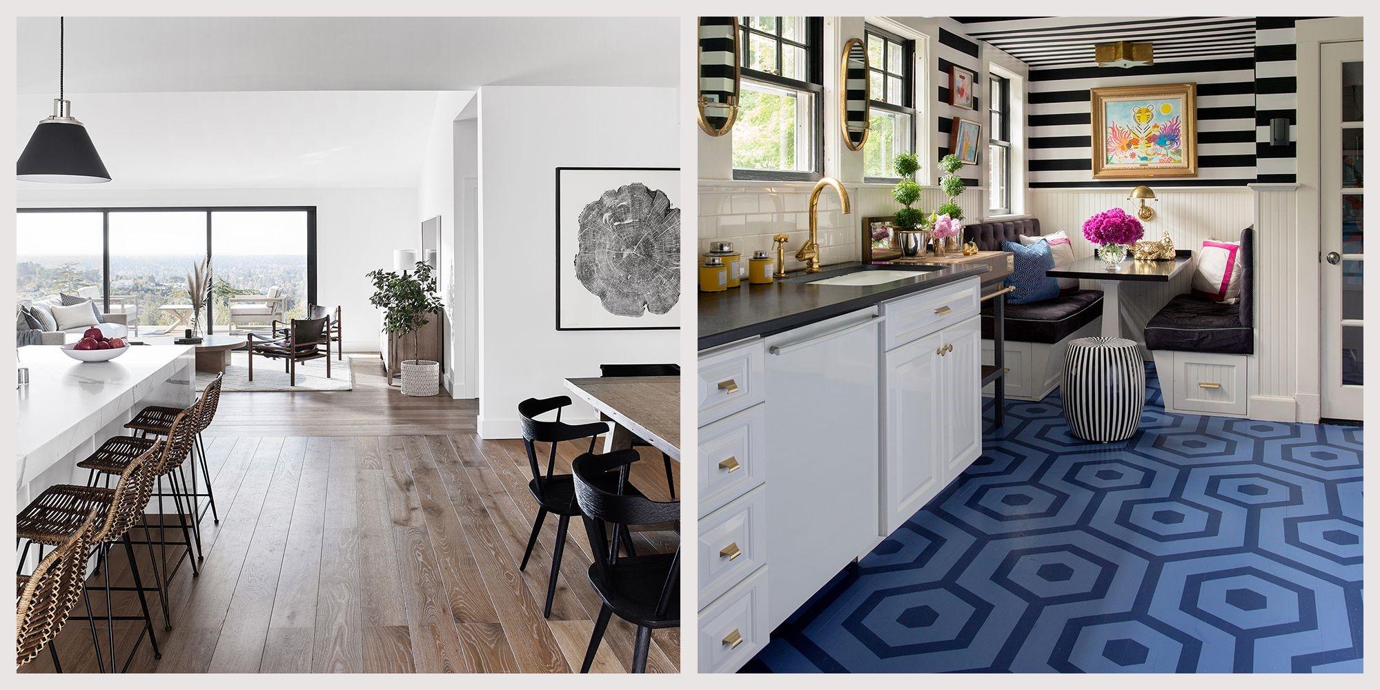 Options tendance pour le plancher de la cuisine.
