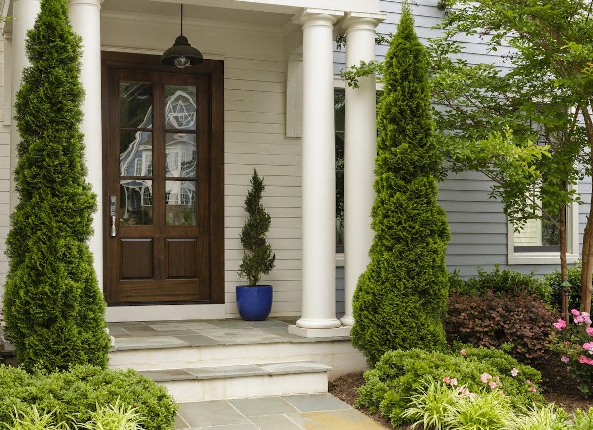 Aménagement de porte d'entrée avec beaucoup de plantes à feuilles persistantes.