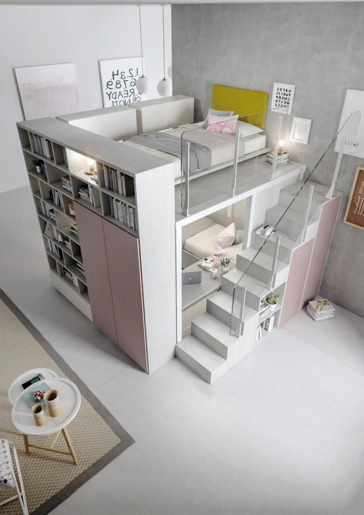 Idée pour une chambre d'ado spacieuse.