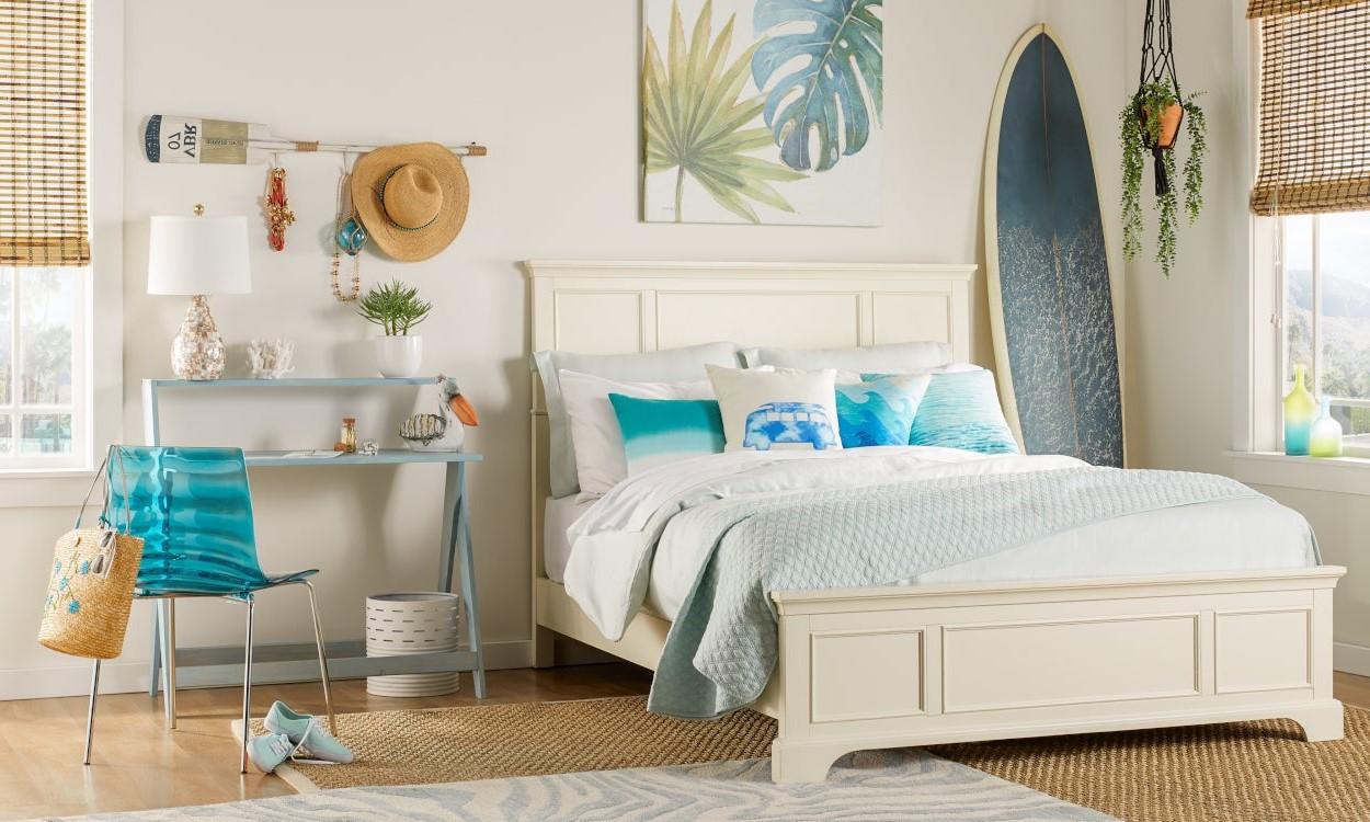 Chambre à coucher de style marin.