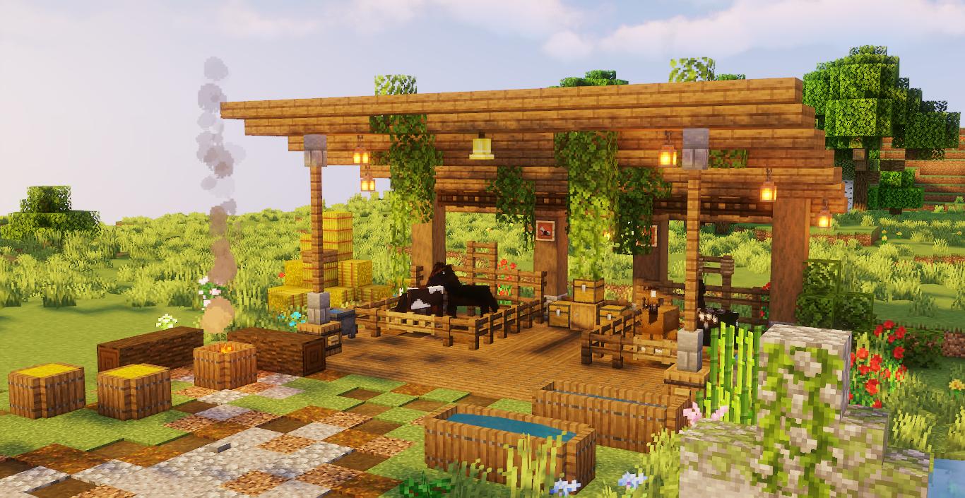 Jardin Minecraft merveilleux.