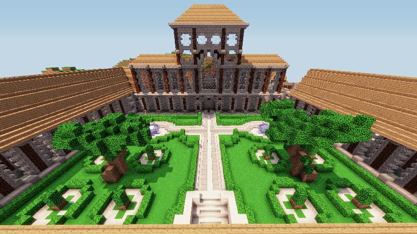 Jardin Minecraft avec dea arbres magnifiques.