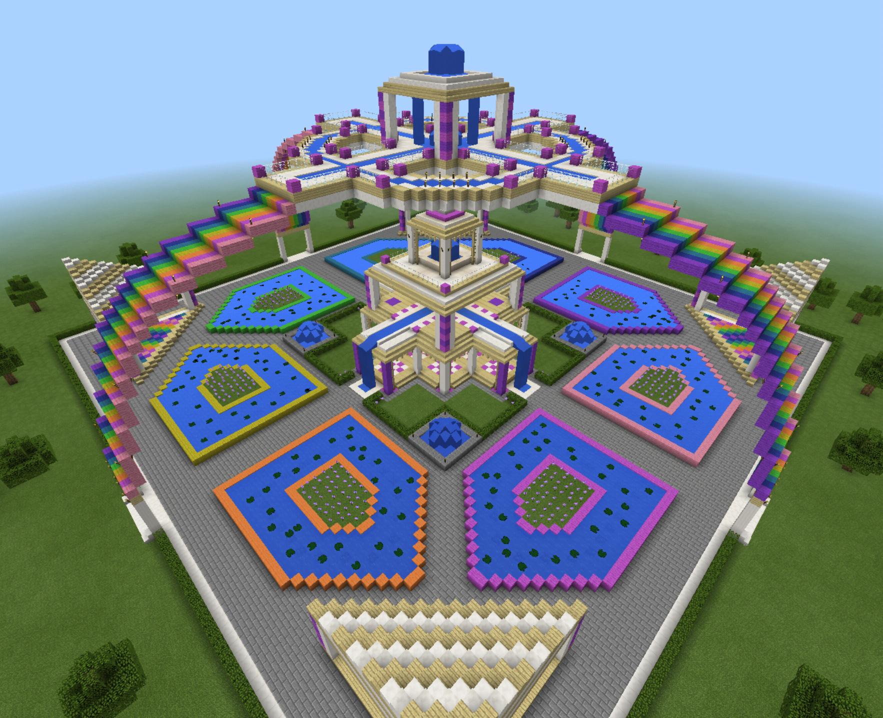 Jardin Minecraft paradisiaque.