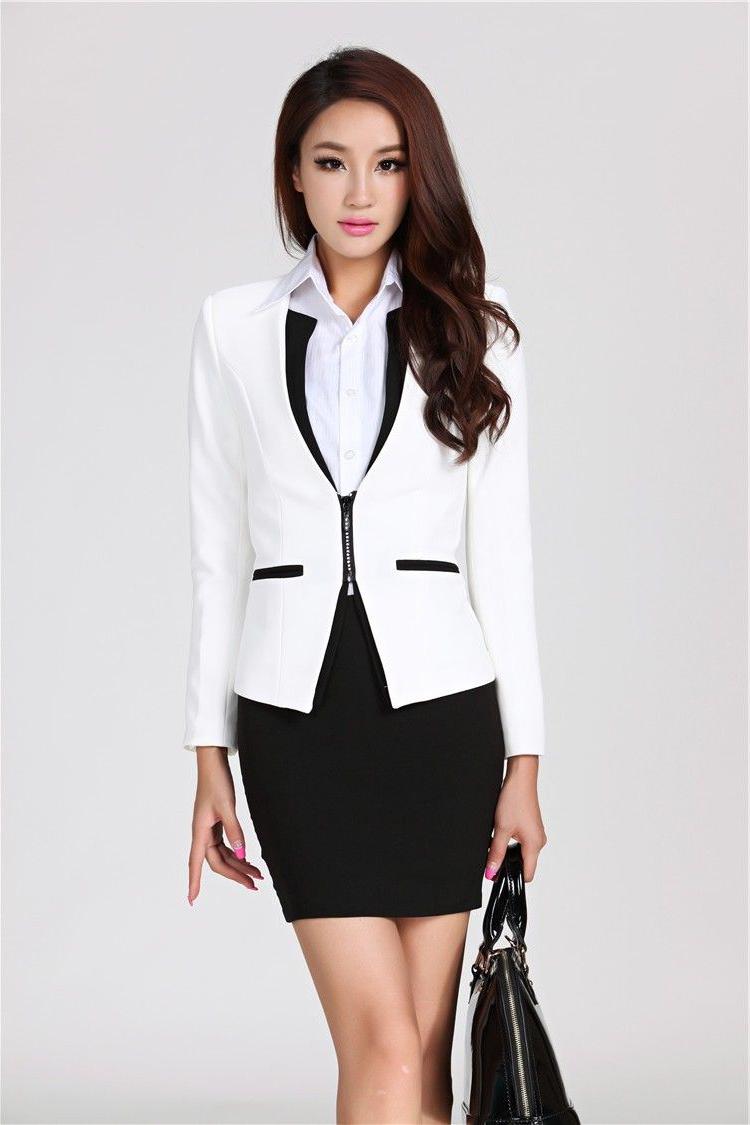 Costume femme moderne en blanc et noir