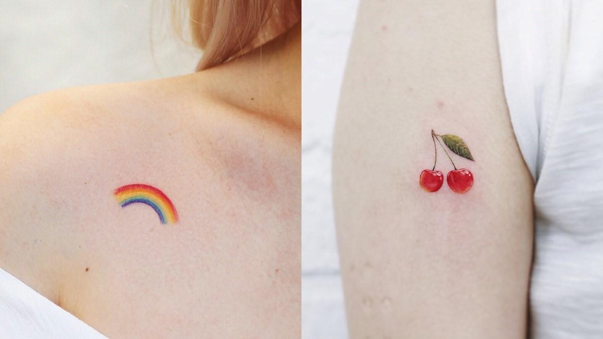 Tatouage de couleur minimaliste.
