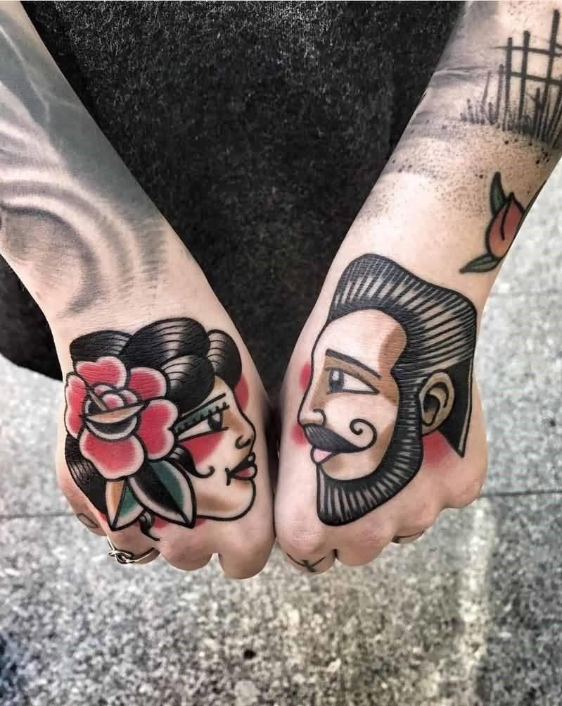 Tatouage de couleur rétro.