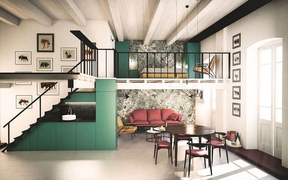 Idées de salon mezzanine.