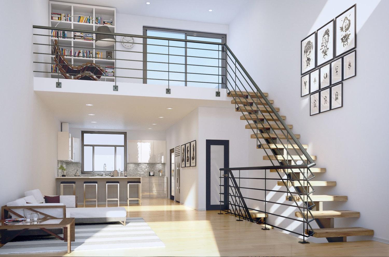 Quand vous avez la hautreur nécessaire et l'espace de vie est limitée, la meilleure chose que vous pouvez faire est de construire une mezzanine dans le salon.