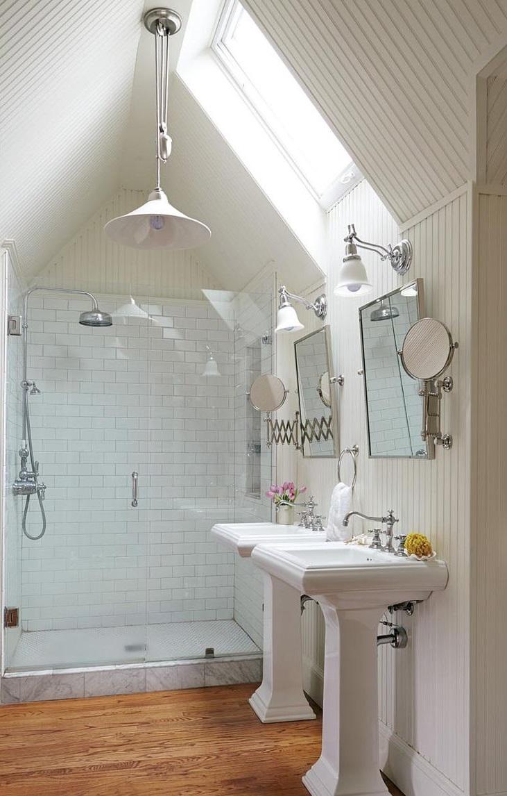 Salle de bains dans le grenier.