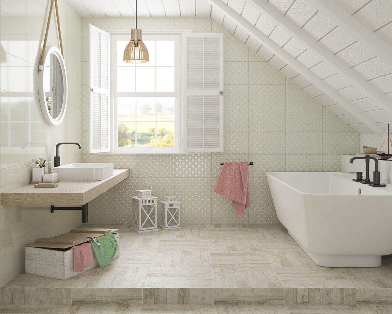 Salle de bains en couleurs clairs et nuances pastel.