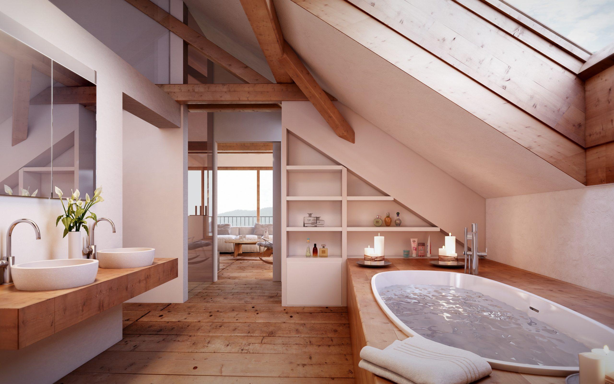Salle d'eau sous combles avec des éléments en bois.