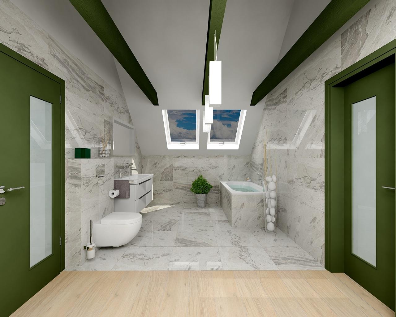 Salle d'eau sous combles en vert et gris clair.