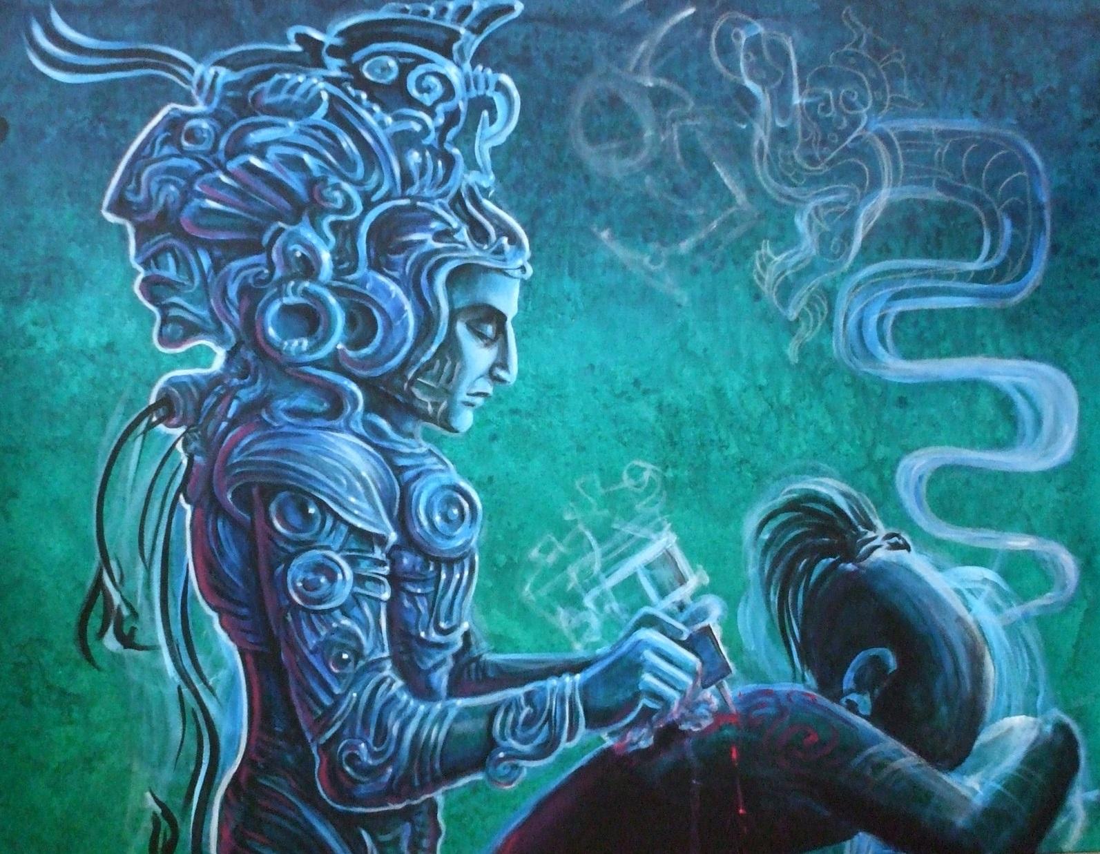Le dieu de tatouage maya Acat.