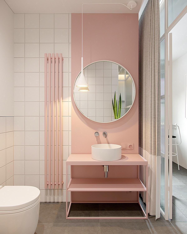 Salle d'eau rose.
