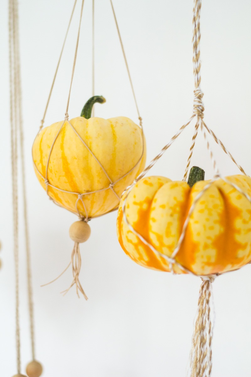 Bricolage d'automne avec des citrouilles.
