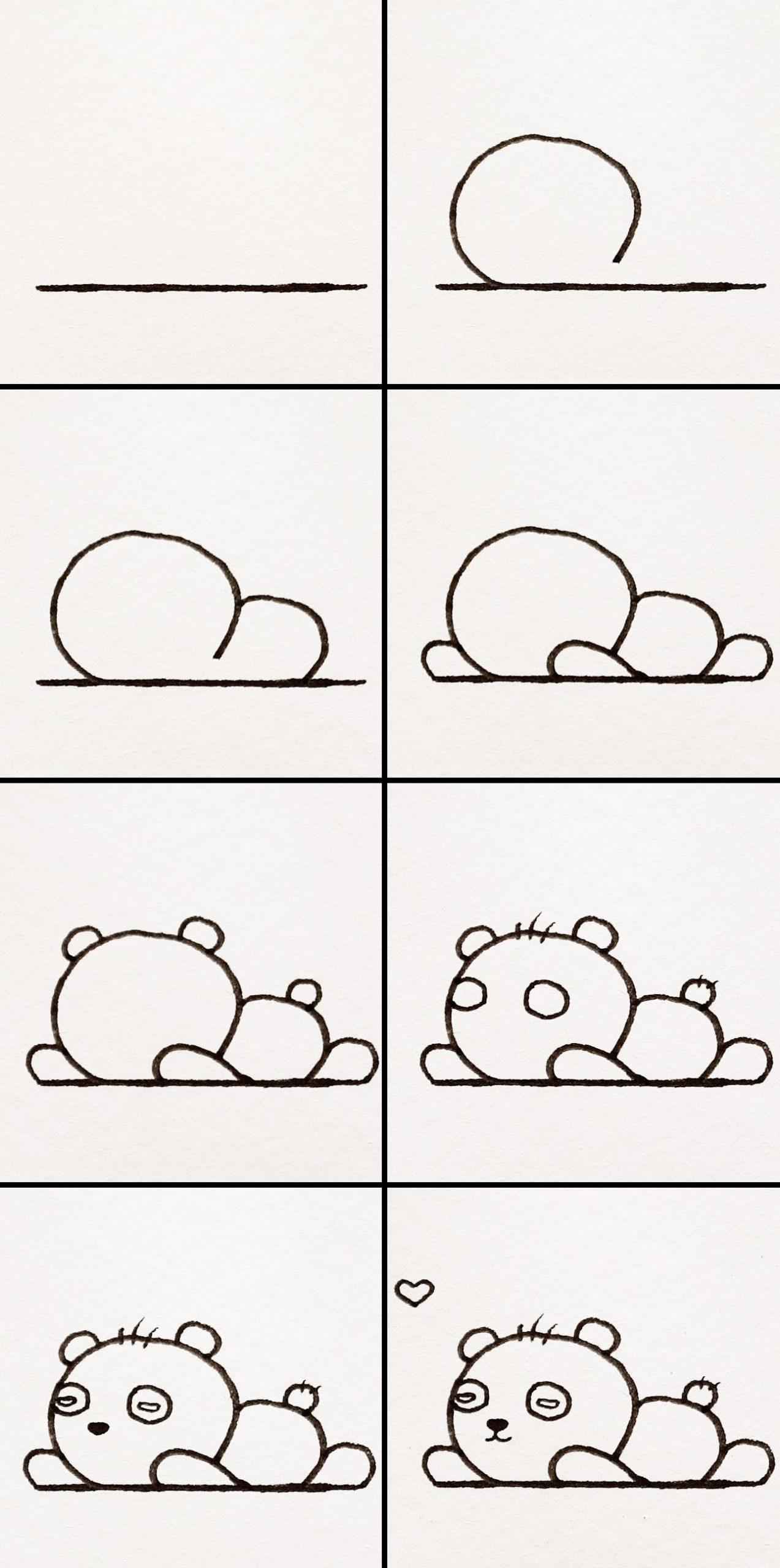 Voici une autre façon simple de dessiner un panda.