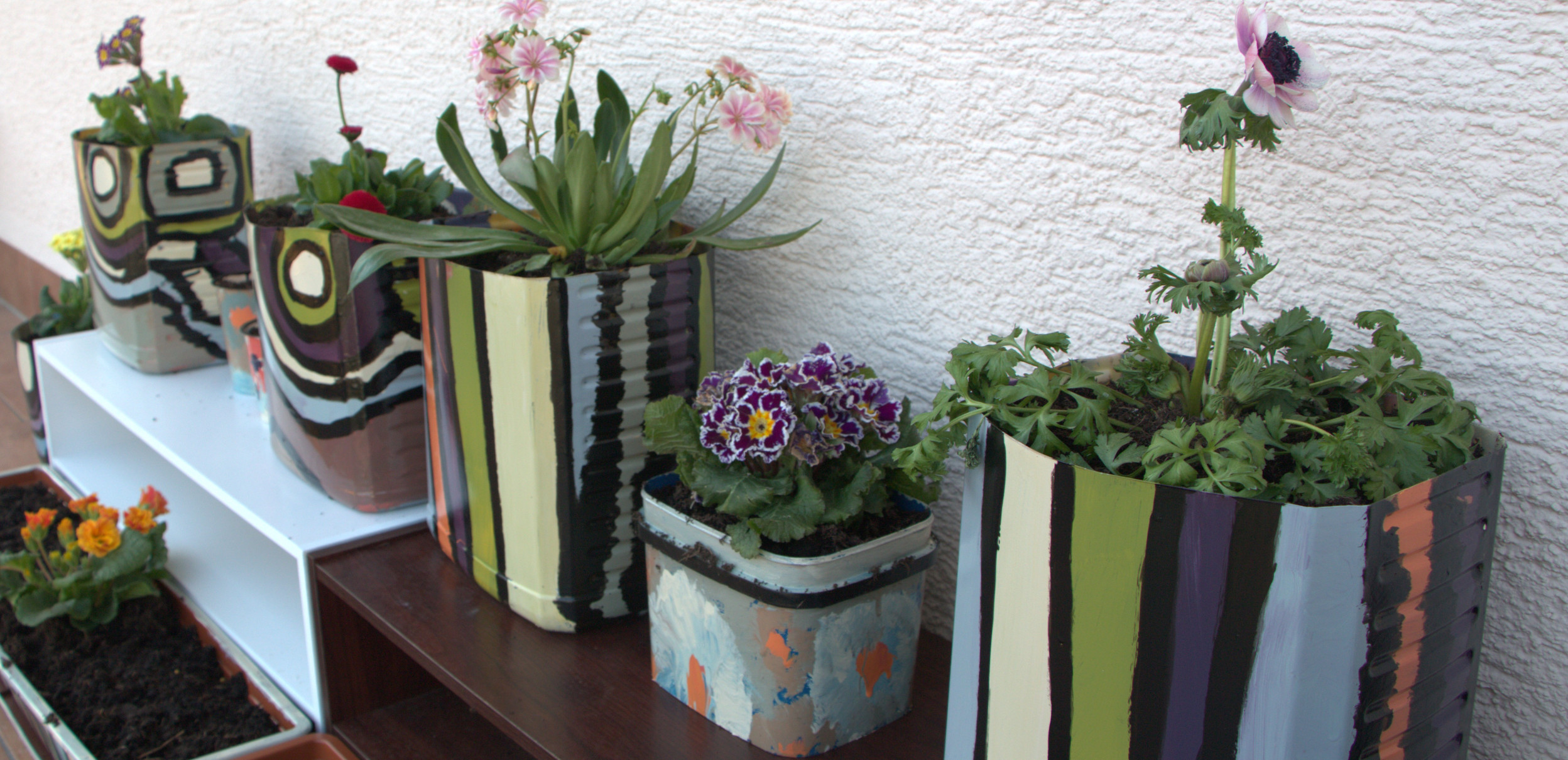 Creation with flower pot.