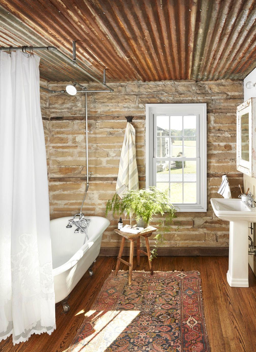 Salle de bains campagne chic.
